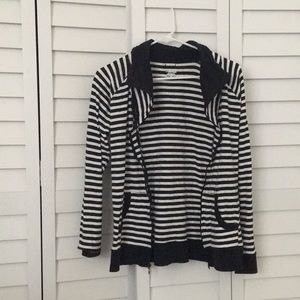 columbia striped black and white zip up size m